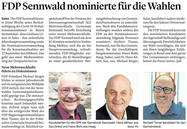 FDP Sennwald nominierte für die Wahlen