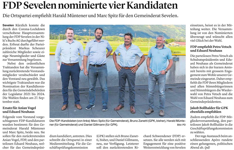 FDP Sevelen nominierte vier Kandidaten
