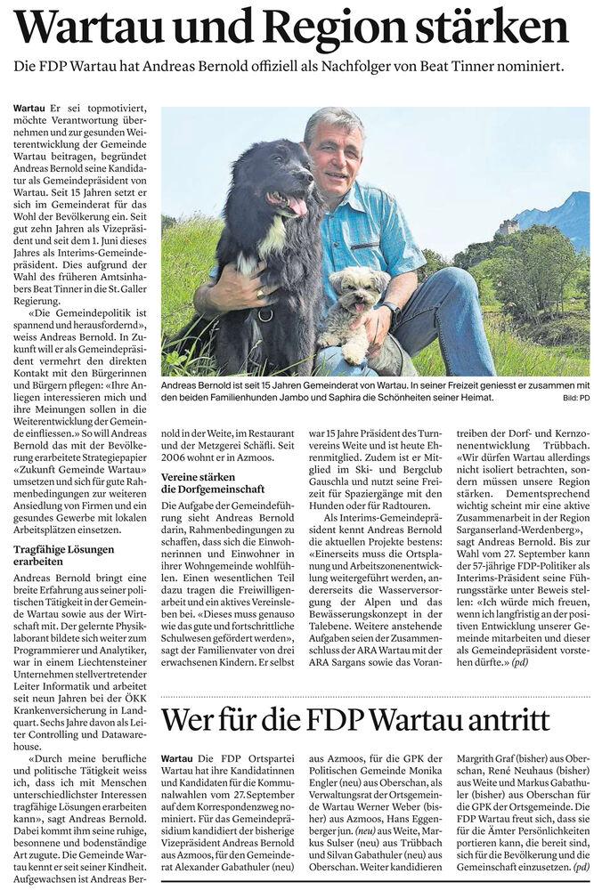 Wartau und Region stärken - FDP Wartau nominiert Andreas Bernold fürs Gemeindepräsidium